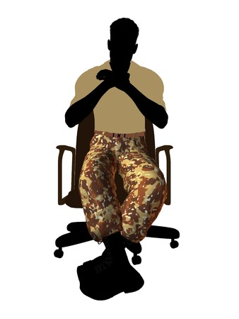 Male soldier casually dressed sitting on an office chair silhouette on a white background