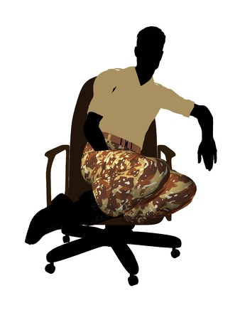 guerrilla: Male soldier casually dressed sitting on an office chair silhouette on a white background
