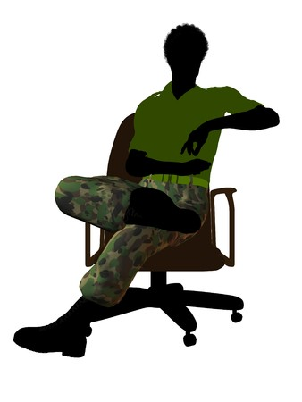 guerrilla: African ameircan soldier sitting on an office chair silhouette on a white background