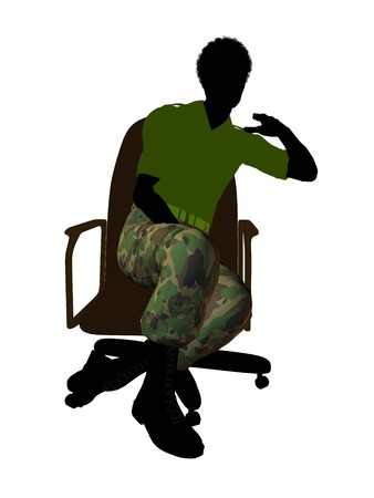 enlisted man: African ameircan soldier sitting on an office chair silhouette on a white background