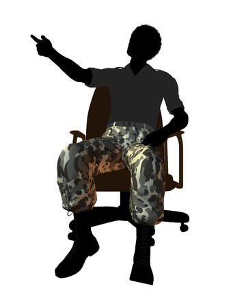 enlisted man: Male soldier casually dressed sitting on an office chair silhouette on a white background