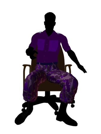 enlisted man: Male soldier sitting on an office chair silhouette on a white background