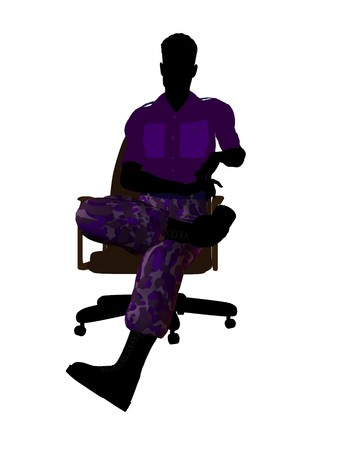 guerrilla: Male soldier sitting on an office chair silhouette on a white background