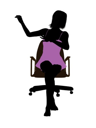 nightgown: Woman in a nightgown sitting in an office chair illustration silhouette on a white background Stock Photo