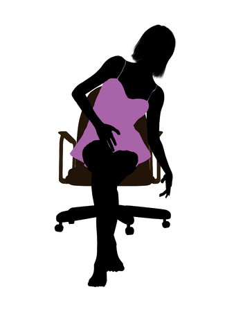 nighty: Woman in a nightgown sitting in an office chair illustration silhouette on a white background Stock Photo