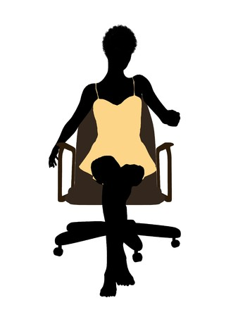 nighty: African american woman in a nightgown sitting in an office chair illustration silhouette on a white background