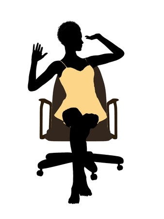 African american woman in a nightgown sitting in an office chair illustration silhouette on a white background