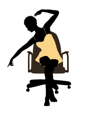 nightgown: African american woman in a nightgown sitting in an office chair illustration silhouette on a white background