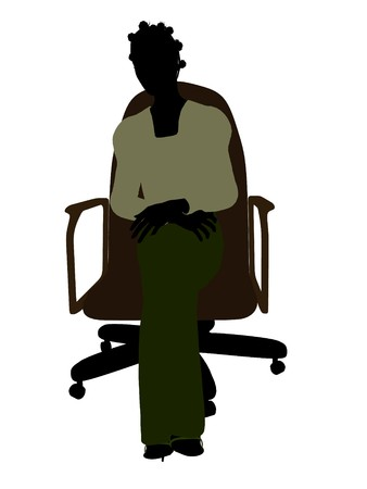 African american female business executive sitting on an office chair silhouette on a white background