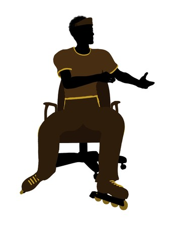 blader: African American roller skater sitting on an office chair illustration silhouette on a white background
