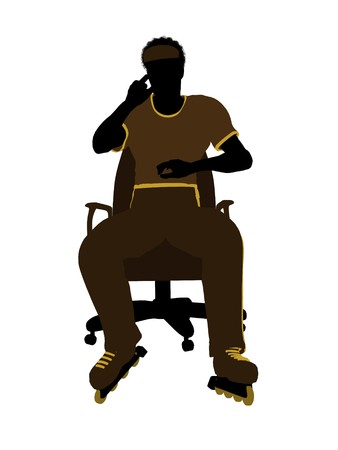 African American roller skater sitting on an office chair illustration silhouette on a white background illustration