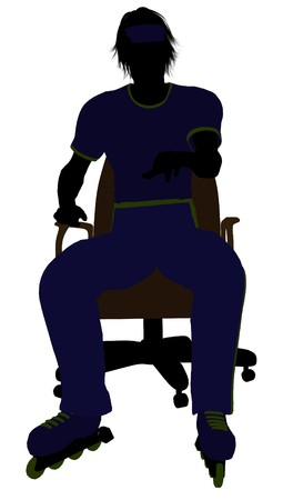 blader: Male roller skater sitting on an office chair illustration silhouette on a white background