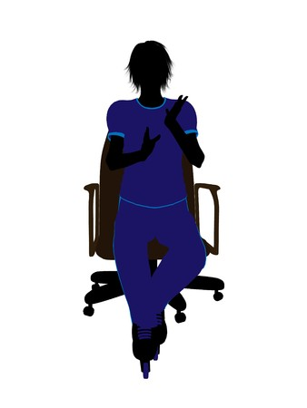 blader: Female roller skater sitting on an office chair illustration silhouette on a white background