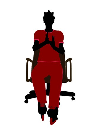 blader: African american female roller skater sitting on an office chair illustration silhouette on a white background