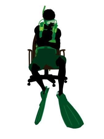 アフリカ系アメリカ人のスキューバダイバーの白い背景の上のオフィス椅子シルエットの上に座って 写真素材 - 7196269