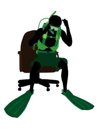 アフリカ系アメリカ人のスキューバダイバーの白い背景の上、オフィス椅子のシルエットの上に座って 写真素材