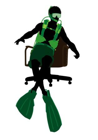 アフリカ系アメリカ人のスキューバダイバーの白い背景の上のオフィス椅子シルエットの上に座って 写真素材