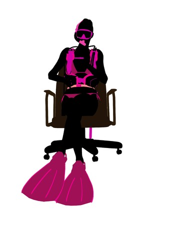 白い背景にオフィス椅子アートの図のシルエットの上に座って女性のスキューバ ダイバー
