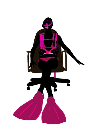 オフィス椅子アート イラスト シルエット、白い背景の上に座っている女性のスキューバ ダイビング