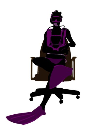 オフィス椅子アート イラスト シルエット、白い背景の上に座っているアフリカ系アメリカ人の女性ダイバー 写真素材 - 7196514