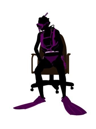 オフィス椅子アート イラスト シルエット、白い背景の上に座っているアフリカ系アメリカ人の女性ダイバー