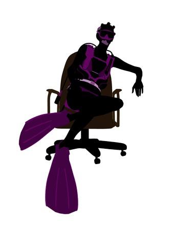 オフィス椅子アート イラスト シルエット、白い背景の上に座っているアフリカ系アメリカ人の女性ダイバー 写真素材 - 7196217