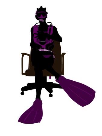 アフリカ系アメリカ人女性スキューバ ダイバー、オフィス椅子アート イラスト シルエット白い背景の上に座っています。 写真素材 - 7196345