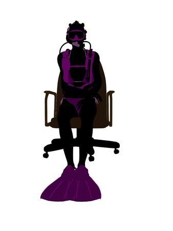 オフィス椅子アート イラスト シルエット、白い背景の上に座っているアフリカ系アメリカ人の女性ダイバー 写真素材 - 7199523