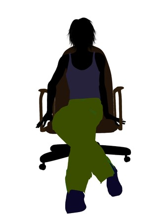 Male skateboarder sitting on an office chair illustration silhouette on a white background Imagens