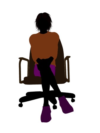 Male skateboarder sitting on an office chair illustration silhouette on a white background Zdjęcie Seryjne
