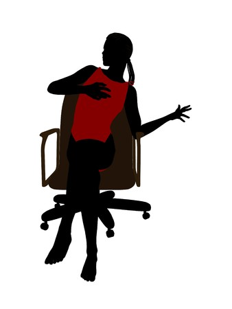 African american wearing a swimsuit sitting in an office chair illustration silhouette on a white background illustration