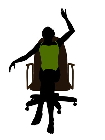 African american female in a swimsuit sitting on an office chair illustration silhouette on a white background illustration