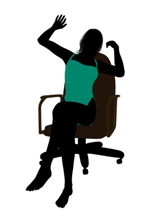 Female in a swimsuit sitting on an office chair illustration silhouette on a white background illustration