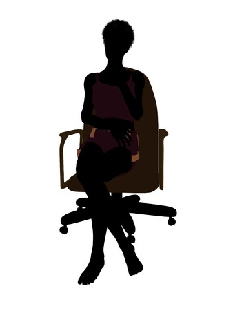 African american woman in underwear sitting in an office chair illustration silhouette on a white background illustration