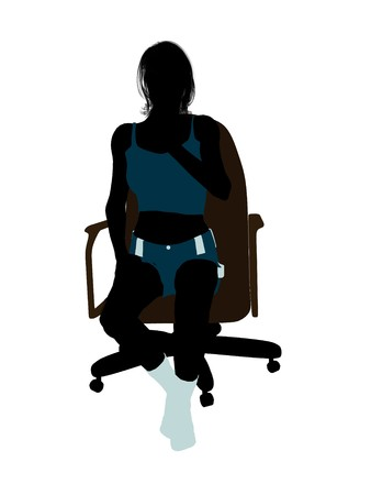 nighty: Woman in underwear sitting in an office chair illustration silhouette on a white background
