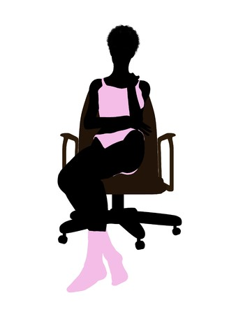 nighty: African american woman in underwear sitting in an office chair illustration silhouette on a white background