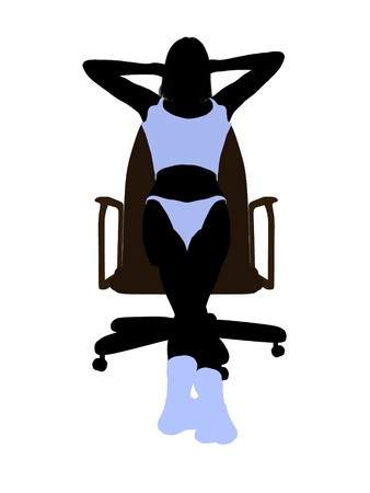 Woman in underwear sitting in an office chair illustration silhouette on a white background