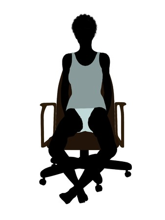 African american woman in underwear sitting in an office chair illustration silhouette on a white background