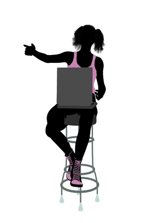 barstool: Female athlete with a computer on a barstool silhouette on a white background