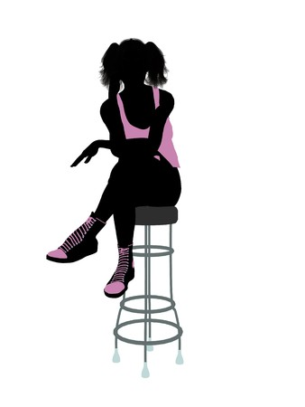 barstool: Female athlete sitting on a barstool silhouette on a white background