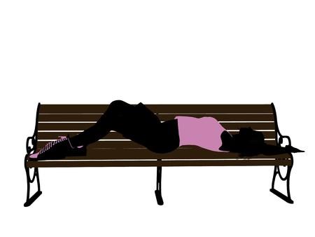 흰색 배경에 벤치 실루엣에 누워 여성 운동 선수