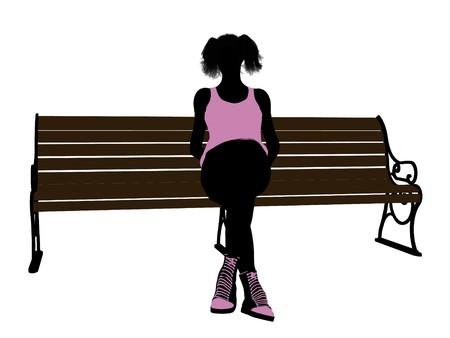 흰색 배경에 벤치 실루엣에 앉아 여성 운동 선수 스톡 콘텐츠