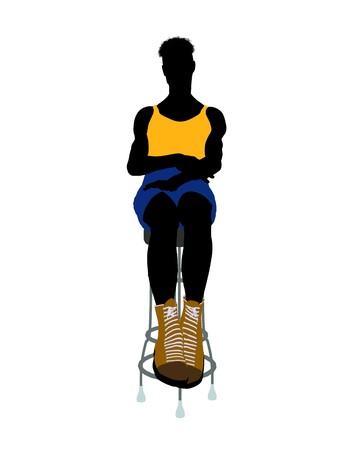 barstool: Male athlete sitting on a barstool silhouette on a white background
