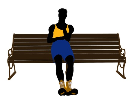 Male athlete sitting on a bench silhouette on a white background