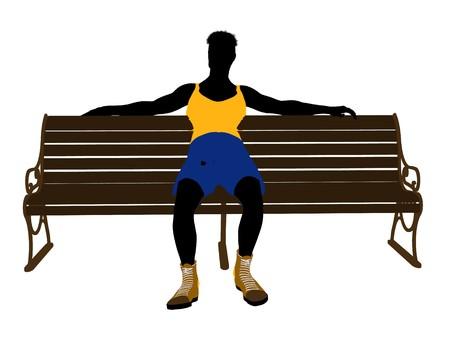 흰색 배경에 벤치 실루엣에 앉아 남성 선수 스톡 콘텐츠