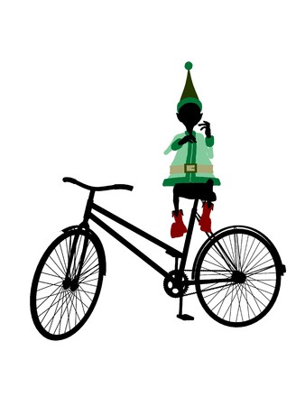 fay: A christmas elf with a bycycle illustration silhouette on a white background