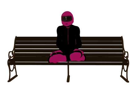 A female motorcycle rider sitting on a bench silhouette on a white background 스톡 콘텐츠