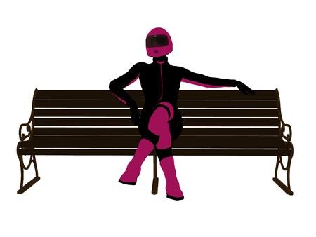 흰색 배경에 벤치 실루엣에 앉아 여성 오토바이 라이더