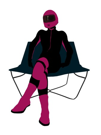 A female motorcycle rider sitting on a lounge chair silhouette on a white background