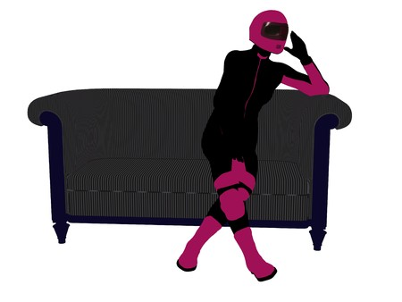A female motorcycle rider sitting on a sofa silhouette on a white background